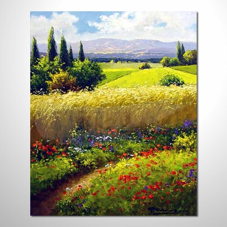 油画046花田景色 香气 乡村风景 山水油画 纯手绘 装饰 挂画 田园风景