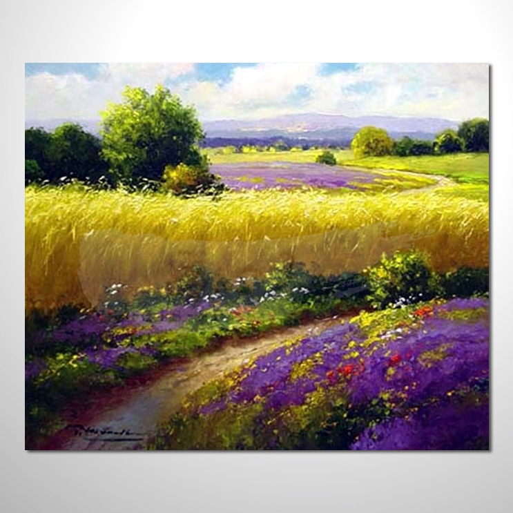 油画043花田景色 香气 乡村风景 山水油画 纯手绘 装饰 挂画 田园风景