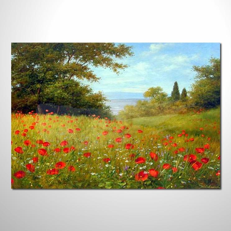 油画033花田景色 香气 乡村风景 山水油画 纯手绘 装饰 挂画 田园风景