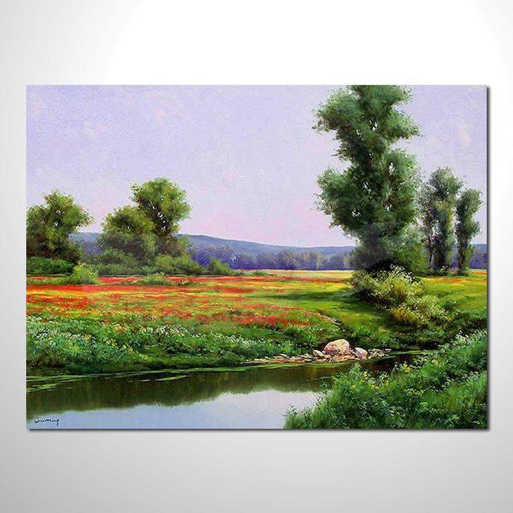 油画020花田景色 香气 乡村风景 山水油画 纯手绘 装饰 挂画 田园风景