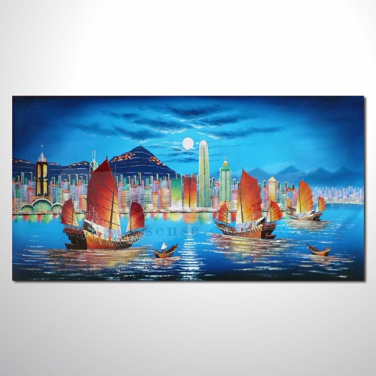 油画 香港街景24 风景油画 异国街景风情 对比色调 绝佳氛围 山水画